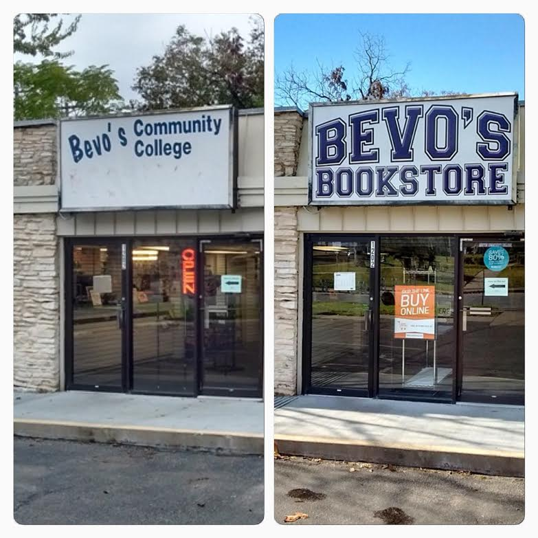 Bevo's Bookstore Sign Before And After